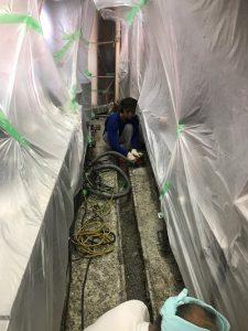 ラーメン屋厨房 塗床補修工事1 株式会社タナカペインティング-田中塗り床工業-